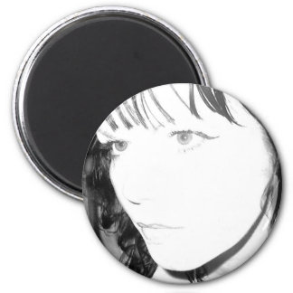 Negro y blanco imán redondo 5 cm