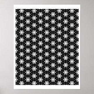 Negro y blanco modela hexágonos del | IV Póster