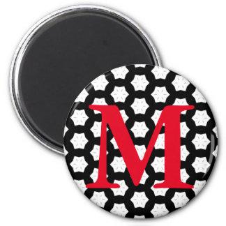 Negro y blanco modela hexágonos del | V Imán Redondo 5 Cm