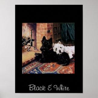 Negro y blanco persigue el poster del vintage