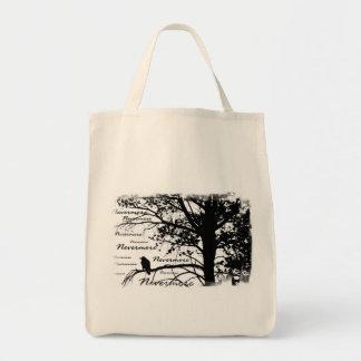 Negro y blanco Raven nunca más el árbol de la Bolsa Tela Para La Compra