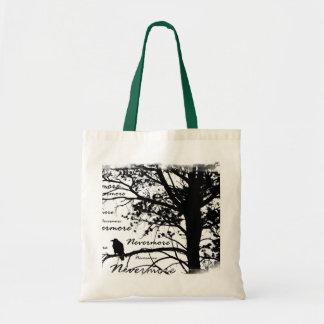 Negro y blanco Raven nunca más el árbol de la silu Bolsa Tela Barata