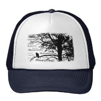 Negro y blanco Raven nunca más el árbol de la silu Gorro De Camionero