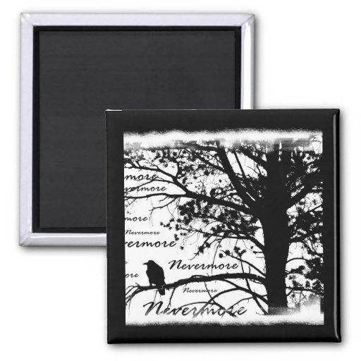 Negro y blanco Raven nunca más el árbol de la silu Imán Cuadrado