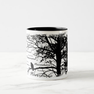 Negro y blanco Raven nunca más el árbol de la Taza De Dos Tonos