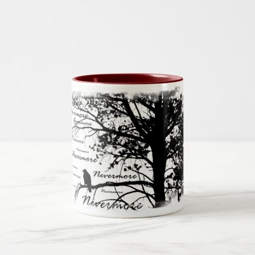 Negro y blanco Raven nunca más el árbol de la Taza Dos Tonos