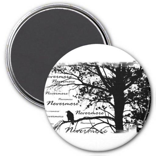 Negro y blanco Raven nunca más la silueta Imán Redondo 7 Cm