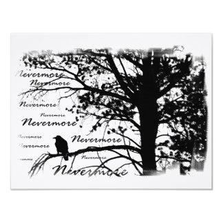 Negro y blanco Raven nunca más la silueta Invitación 10,8 X 13,9 Cm