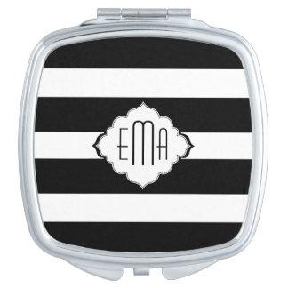 Negro y blanco raya el modelo geométrico 2 espejos compactos
