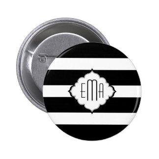 Negro y blanco raya el modelo geométrico 2 pin