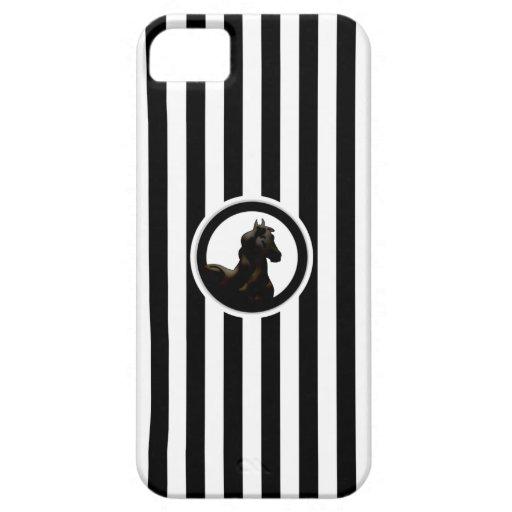 Negro y blanco raya la caja ecuestre del iPhone 5 iPhone 5 Case-Mate Cobertura