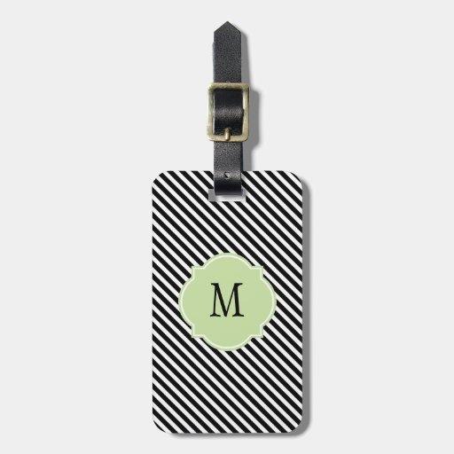 Negro y blanco raya la etiqueta del equipaje del m etiqueta de maleta