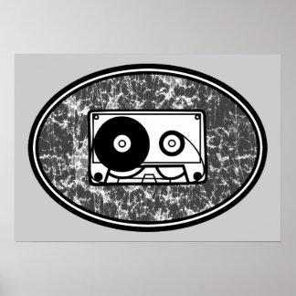 Negro y blanco retros de la cinta de casete póster