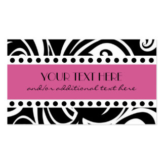 Negro y blanco, rosados tarjetas de visita