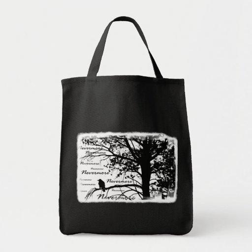Negro y blanco siluetee nunca más el cuervo bolsa
