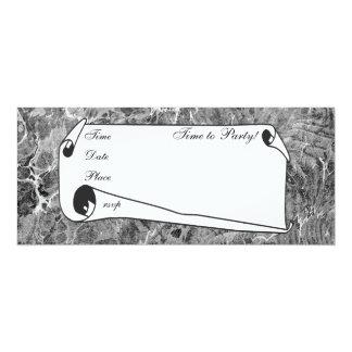 Negro y blanco veteados invitación 10,1 x 23,5 cm