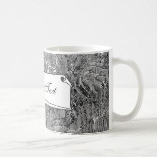 Negro y blanco veteados taza clásica