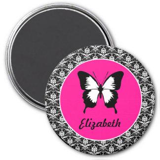 Negro y blanco y rosado con las alas imán redondo 7 cm
