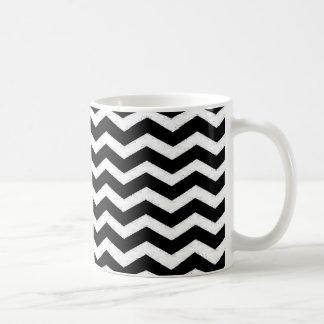Negro-Y-Blanco-Zigzag-Chevron-Modelo Taza De Café