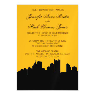 Negro y boda de la ciudad natal del horizonte de invitaciones magnéticas