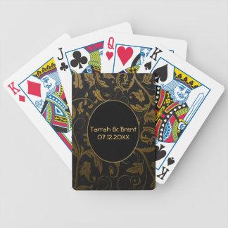 Negro y boda del damasco del oro - personalizar barajas de cartas