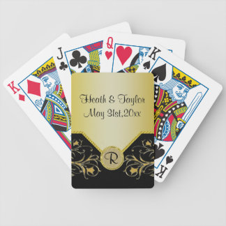 Negro y boda floreciente del monograma de las vide cartas de juego