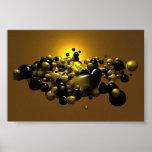 Negro y bolas de la meta del oro impresiones