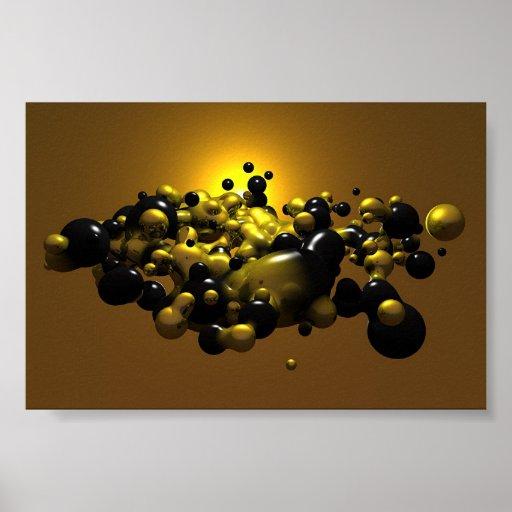 Negro y bolas de la meta del oro póster