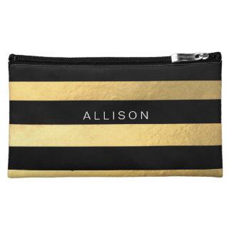 Negro y bolso cosmético personalizado raya del oro