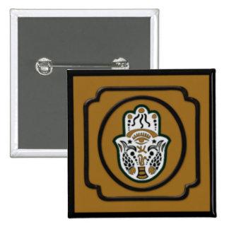 Negro y botón cuadrado de Hamsa del oro Pin