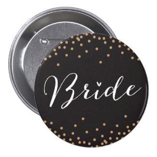 Negro y botón de la novia del punto del confeti de pin redondo de 3 pulgadas