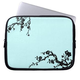 Negro y caja floral del ordenador portátil de la t fundas portátiles