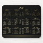 Negro y calendario anual 2015 del oro en Mousepad Tapete De Ratón