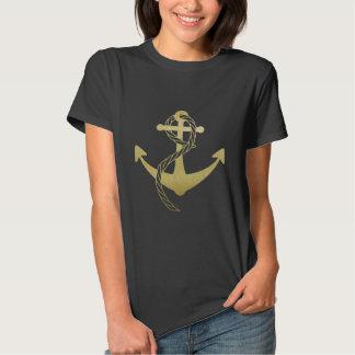 Negro y camisa náutica del ancla del oro