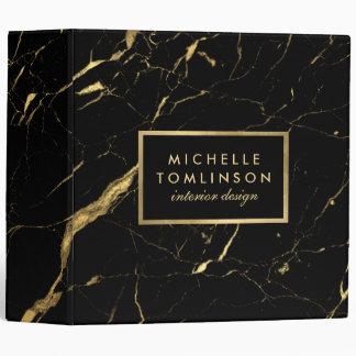 Negro y carpeta de mármol del diseñador del oro