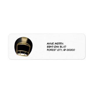 Negro y casco de fútbol americano del oro etiquetas de remite