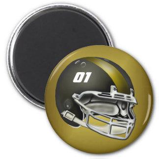 Negro y casco de fútbol americano del oro imán de nevera