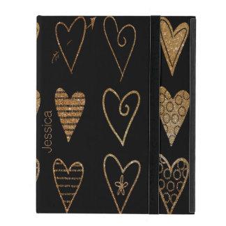 Negro y caso de encargo del iPad de los corazones