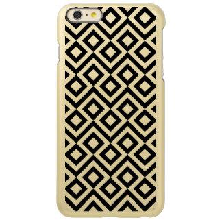 Negro y caso más del iPhone 6 del meandro del oro