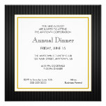 Negro y cena del profesional del negocio del oro invitaciones personalizada