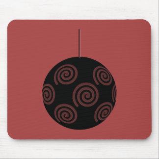 Negro y chuchería roja del navidad de Borgoña Alfombrillas De Ratón