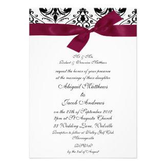 Negro y cinta de Borgoña - invitación del boda