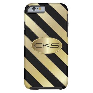 Negro y color con monograma de las rayas el   el   funda de iPhone 6 tough