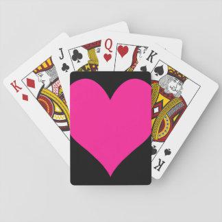 Negro y corazón lindo de color rosa oscuro cartas de póquer