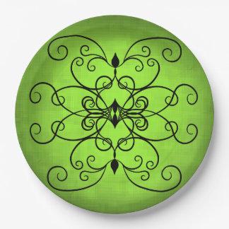 Negro y corazones y remolinos de la verde lima plato de papel de 9 pulgadas