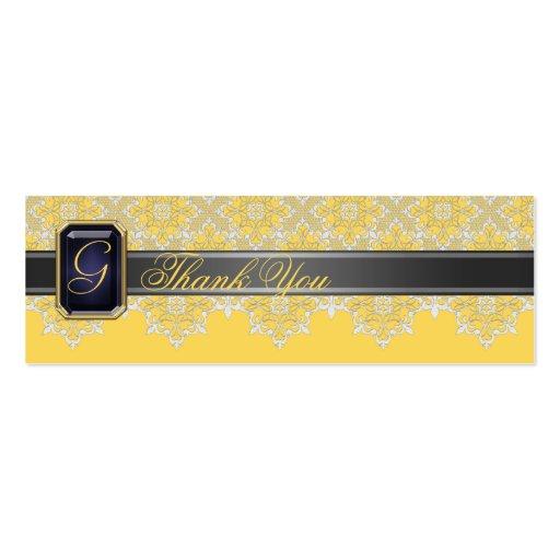 Negro y cordón del limón Jeweled casando la Tarjetas De Visita Mini