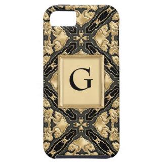 Negro y cordón del oro iPhone 5 fundas