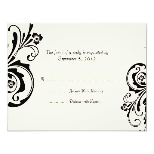 Negro y crema RSVP que se casa elegante floral Invitación 10,8 X 13,9 Cm