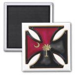Negro y cruz del hierro de Carolina del Sur del gr Imán Para Frigorífico