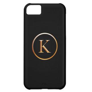 Negro y cubierta del monograma del oro para el iPh Funda Para iPhone 5C